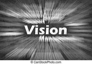 Vision word with motion rays on retro background