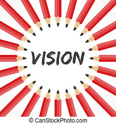 Vision word with pencil background stock vector