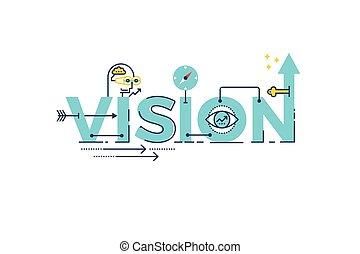 vision, wort, beschriftung