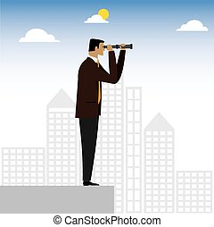 visionary businessman or executive looking through binoculars - vector graphic. this also represents foresight, vision, looking ahead, positive expectations, business acumen, leadership, perception