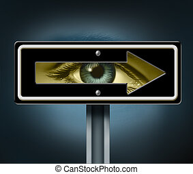Visionary direction with a human eye peeking through a hollow traffic arrow sign as a business symbol and life concept for leadership direction focused on success with a clear goal.
