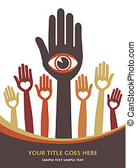 Visionary hands vector.