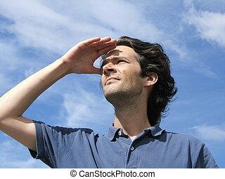Visionary man with blue sky