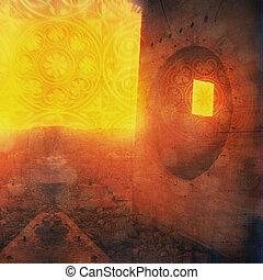 Visionary Ruin - Odd ruin with round and square window. ...