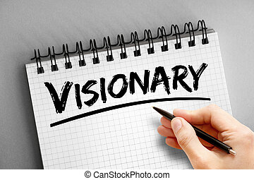 Visionary text on notepad, concept background