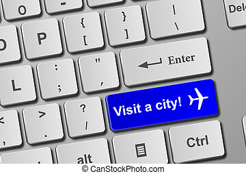 Visit a city blue keyboard button