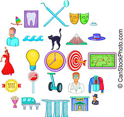 Visit icons set, cartoon style - Visit icons set. Cartoon...