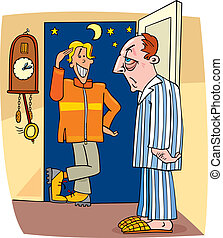 Visit in the middle of the night - Cartoon illustration of...