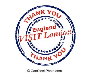 Visit London England - Rubber stamp with text visit London...