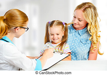 visit mother and child to doctor pediatrician