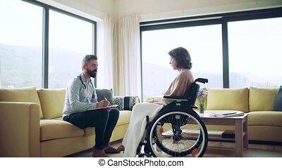 visit., santé, fauteuil roulant, visiteur, maison, personne agee, pendant, femme