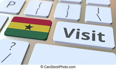 VISIT text and flag of Ghana on the buttons on the computer...