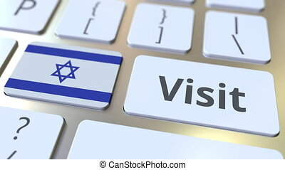 VISIT text and flag of Israel on the buttons on the computer...