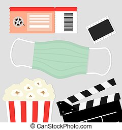 visit to the cinema during coronavirus pandemic, protective measures, face mask - vector illustration