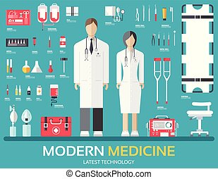 Visit to the doctor. Medicine supplies equipment around medical personnel and staff. Flat health care icons set illustration. Hospital elements design background concept