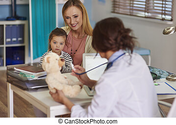 Visit to the doctor of little girl with mom