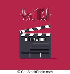 Visit USA, Hollywood image with movie clapper board vector illustration, poster