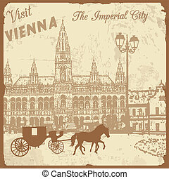 Visit Vienna the Imperial City poster - Vintage touristic...