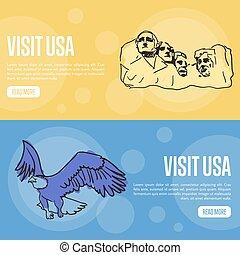 visita, estados unidos de américa, touristic, vector, tela, banderas