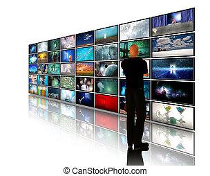 visita, vídeo, exhibiciones, hombre