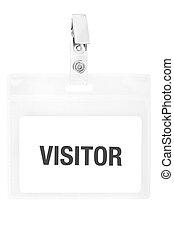 visitante, insignia, o, pase