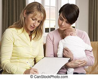 visitante, recién nacido, hablar, salud, madre, bebé, hogar