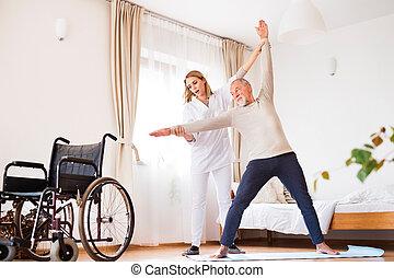 visitante saúde, e, homem sênior, durante, lar, visit.