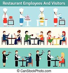 visitantes, empregados, restaurante