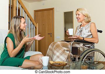 visitar, mujer, hembra, incapacitado, amigo