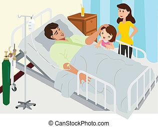 visitar, paciente, en, hospital