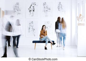visitare, donna, galleria arte, turista