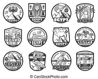 visitas, antiguo, viaje, señales, egipcio, egipto
