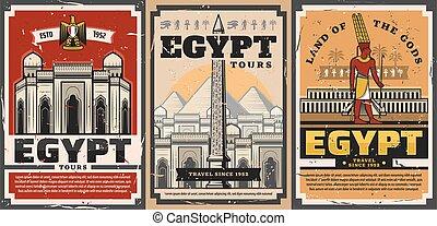 visitas, viaje, ciudad, señales, antiguo, turista, egipto