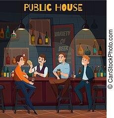 visitatori, composizione, pub, ristorante