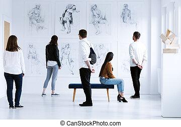 visitatori, galleria arte