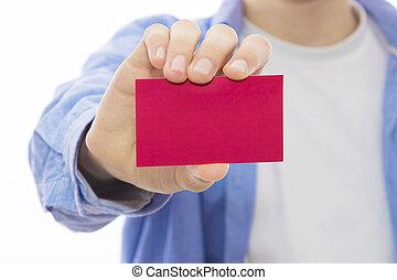 visite, carte, mains affaires