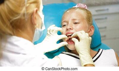visite, orthodontiste, bureau