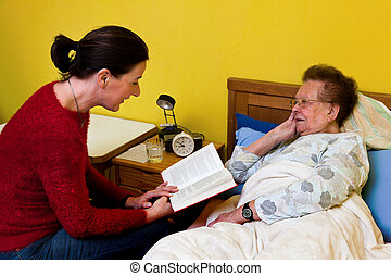 visited, nő, öreg, beteg