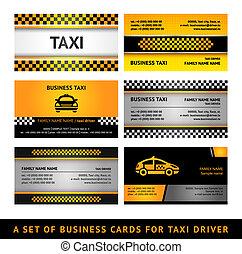 visitekaartje, taxi, -, vierde, set