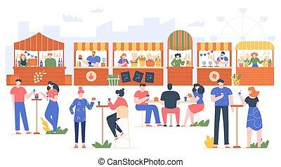 visiter, compteurs, nourriture famille, caractères, fruit, jeûne, friends., extérieur, légume, vecteur, manger, gens rue, illustration., café, parc, recréer, fest., amical