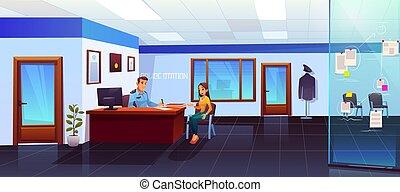 visiteur, girl, station, police, policier