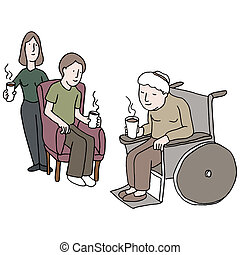Visiting Nursing Home - An image of a family visiting...