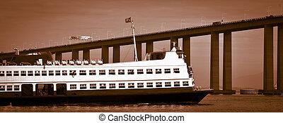 Visiting Rio de Janeiro - Barca Rio-Niteroi ferry boat on...