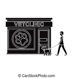 Visiting the vet clinic, the pet,dog on a leash with the hostess. Pet,dog care single icon in black style vector symbol stock illustration web.