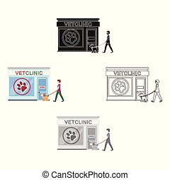 Visiting the vet clinic, the pet,dog on a leash with the hostess. Pet,dog care single icon in cartoon,black style vector symbol stock illustration web.
