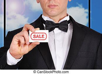 visitkort, med, försäljning