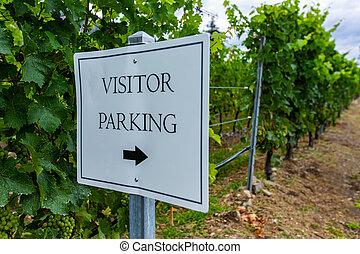 visitor parking sign vineyard background