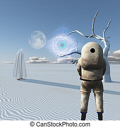 Visitor - Astronaut stands in surreal white desert. Figure...