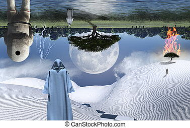 Visitors - Astronaut stands in surreal white desert. Figures...