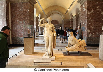 Visitors at the Louvre Museum, May 3, 2013 in Par - Visitors...